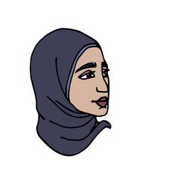 Head eastern muslim young cute girl vector