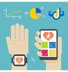 Health book on smartwatch and smartphone vector