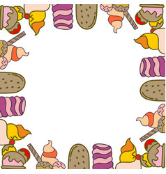 ice cream frame empty template vector image