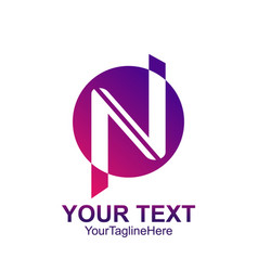 initial letter n logo template colored purple vector image