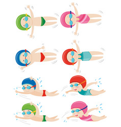 kids doing different swimming strokes vector image