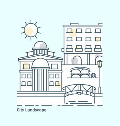 line city landscape banner with buildings flat vector image
