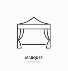 Marquee flat line icon folding tent party vector