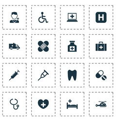 medicine icons set collection of painkiller vector image