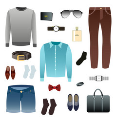 mens look shoes accessories vector image vector image
