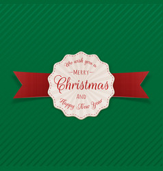 Merry christmas badge on green background vector