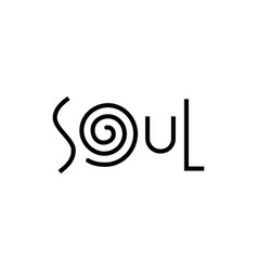 Modern lettering of soul in black with swirl vector