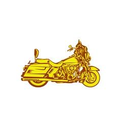 Motorcycle Motorbike Woodcut vector