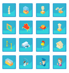 Museum icon blue app vector