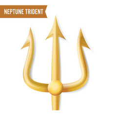 Neptune trident gold realistic 3d vector