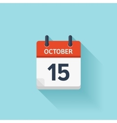 October 15 flat daily calendar icon Date vector image