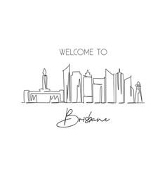 One single line drawing brisbane city skyline vector