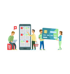 Online shopping mobile app credit card payment vector