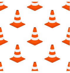 orange traffic cone seamless pattern cartoon flat vector image