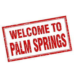 Palm springs red square grunge welcome isolated vector