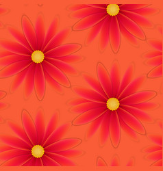 pattern with flowers with red petals vector image