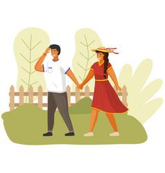 People in relationship walk handle in windy vector