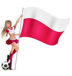 Polish woman fan holding poland flag football vector