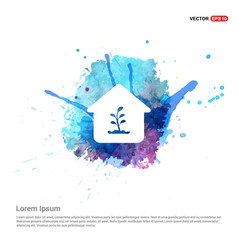 presentation on save the plant icon - watercolor vector image