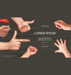 realistic human hands gesture template vector image