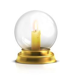 realistic magic ball with light candle isolated on vector image