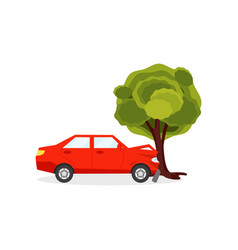red car crashed into big green tree auto accident vector image