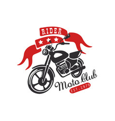 Rider moto club logo est 1979 design element for vector