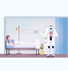 Robot doctor visiting woman patient lying in bed vector