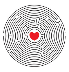 round labyrinth with red heart vector image