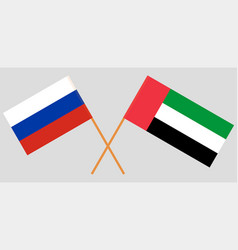 Russia and united arab emirates flags vector
