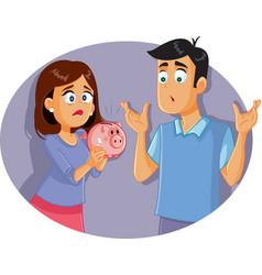 sad broke couple with piggy bank vector image
