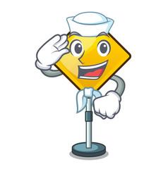 Sailor harm warning sign shaped on cartoon vector