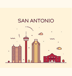 san antonio city skyline texas usa linear vector image