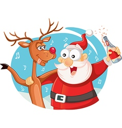 Santa Claus and his Reindeer Drinking and Celebrat vector