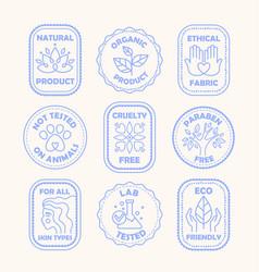 set blue ecology logos or labels vector image