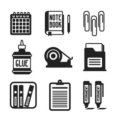 set of monochrome office icons in flat style vector image