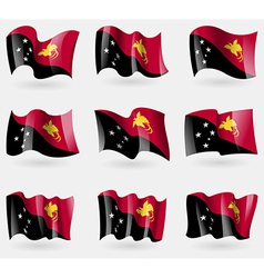 Set of Papua New Guinea flags in the air vector