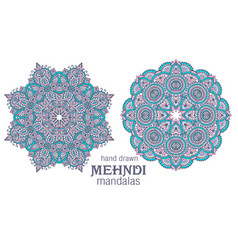 Set of two abstract round lace design vector