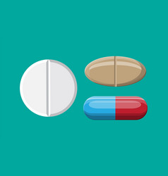 Set pills for illness and pain treatment vector