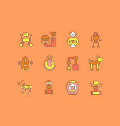 set simple line icons robots vector image