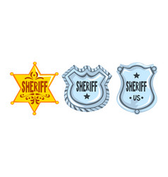silver and golden sheriff badges set police vector image