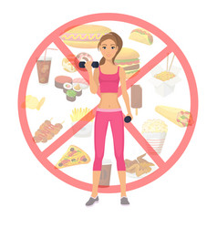 sport girl and fast food unhealthy lifestyle vector image