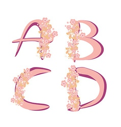 Spring alphabet with flowers letters ABCD vector