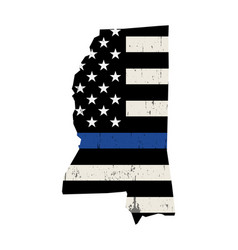 State mississippi police support flag vector