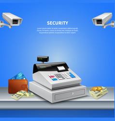 Surveillance camera realistic background vector