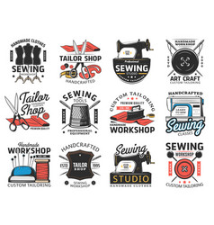 tailor shop sewing studio and workshop icons vector image