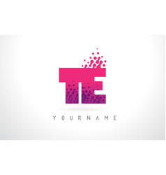 Te t e letter logo with pink purple color and vector