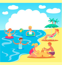 teen kids playing in sea sand castle vector image