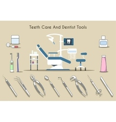 Teeth care and dentist tools vector