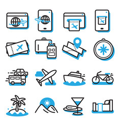 travel icon setthin line and blue black color vector image
